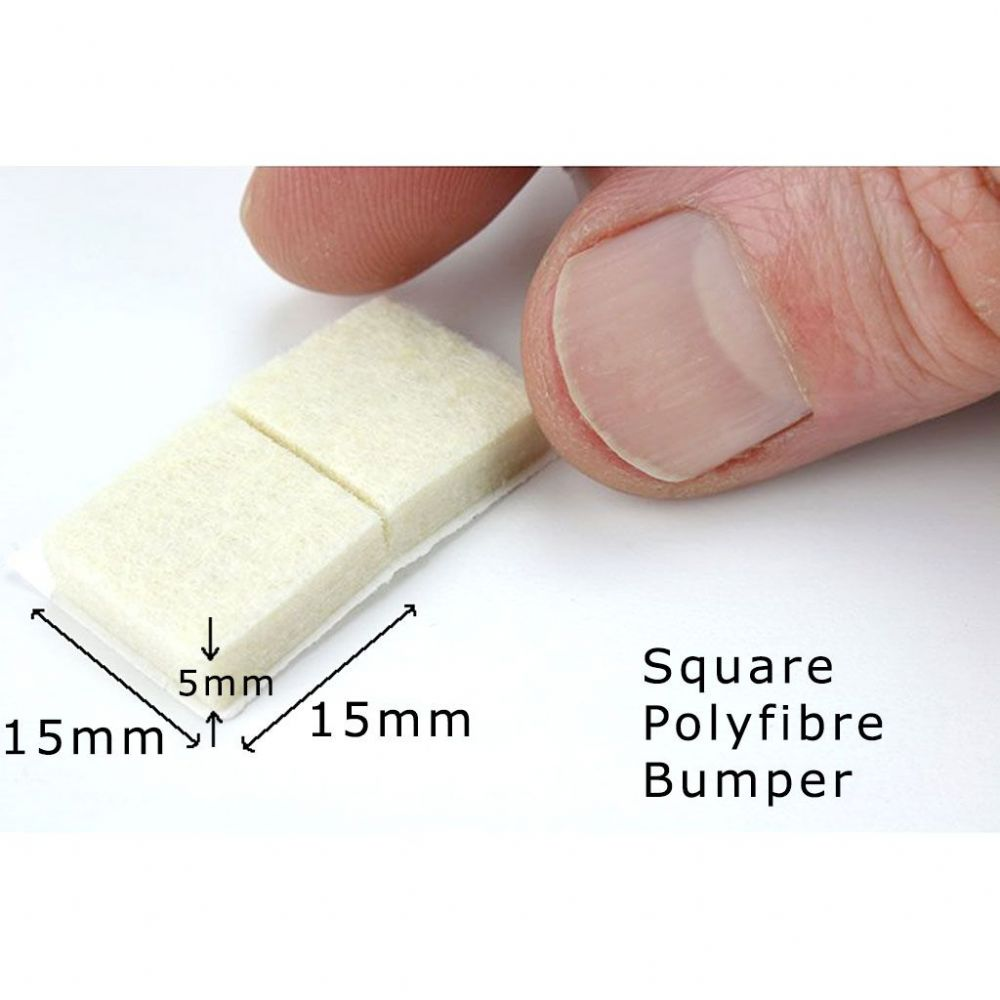 Poly Fibre Bumpers - Square 15x15mm, 5mm thick